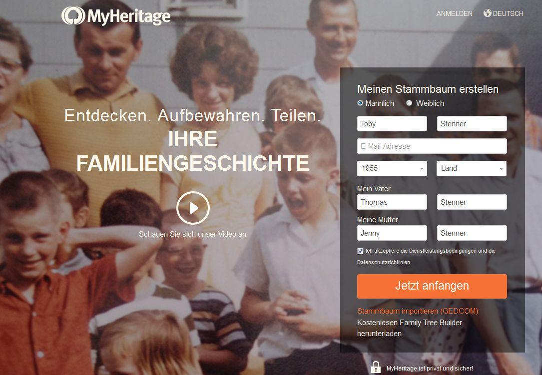 Schritt 1: Registrierung auf MyHeritage.de